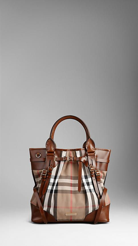 Burberry - MEDIUM HOUSE CHECK BRIDLE LEATHER TOTE BAG
