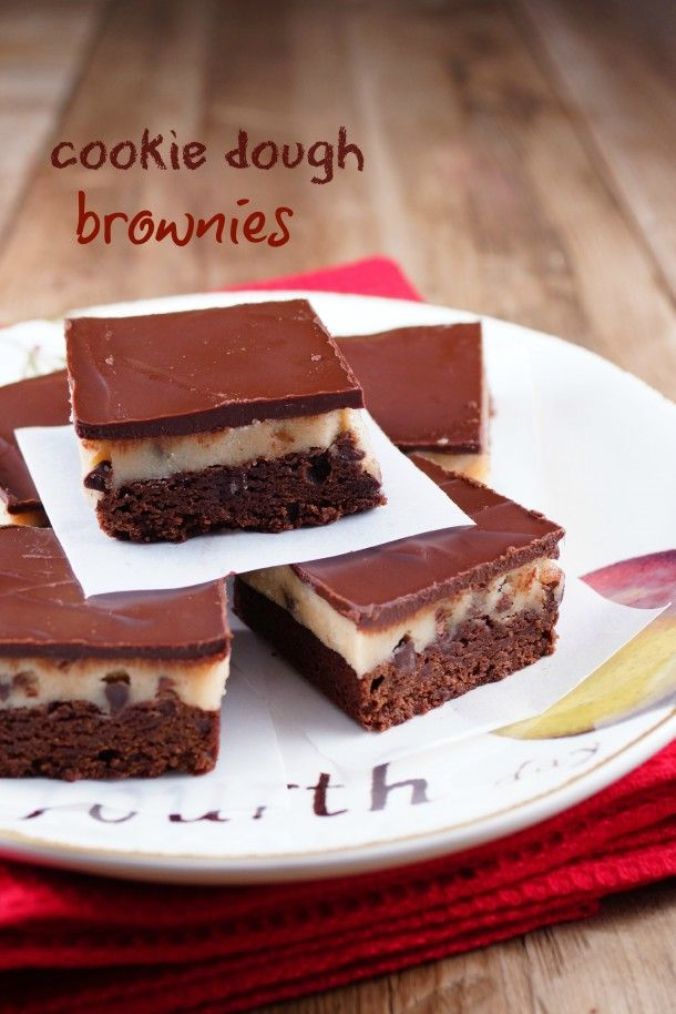 Cookie Dough Brownies-I just had to do it! / Patty's Food @Patty Markison Price / Patty's Food