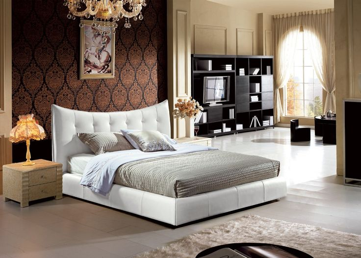 Modern Bonded Leather Bedroom Furniture In White   $918    Features:  Upholstered In Bonded