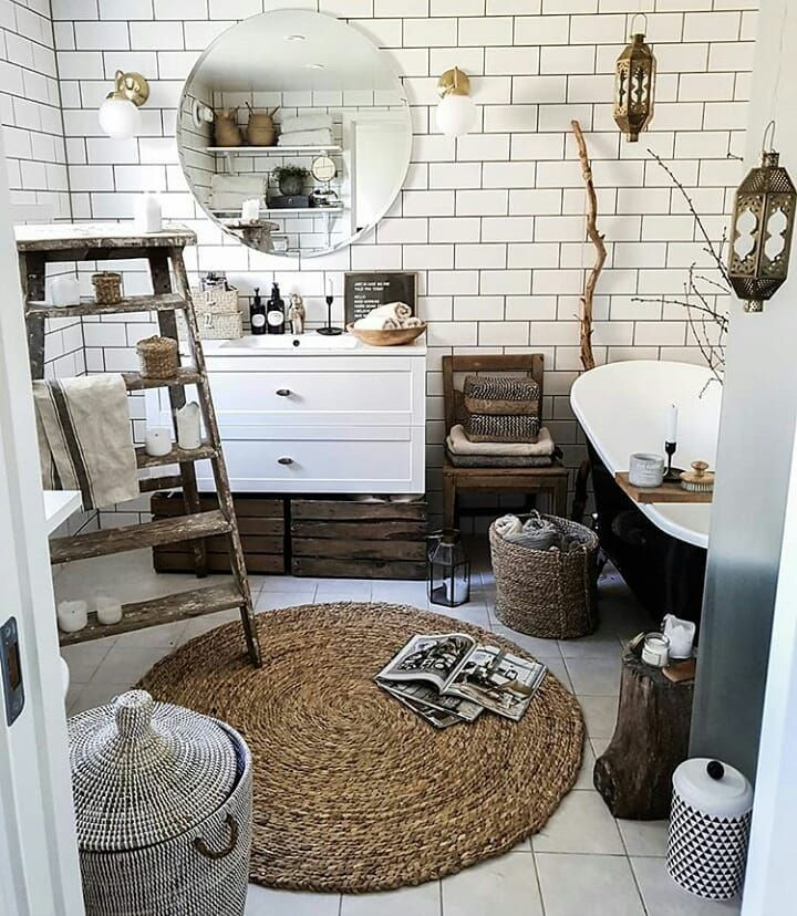 Super Cozy Boho Bathroom Of Bytrineravn And On My Blog You Can Find A Vintage Eclectic Home In Texas Linkinb Bohemian Bathroom Home Decor Boho Bathroom Decor