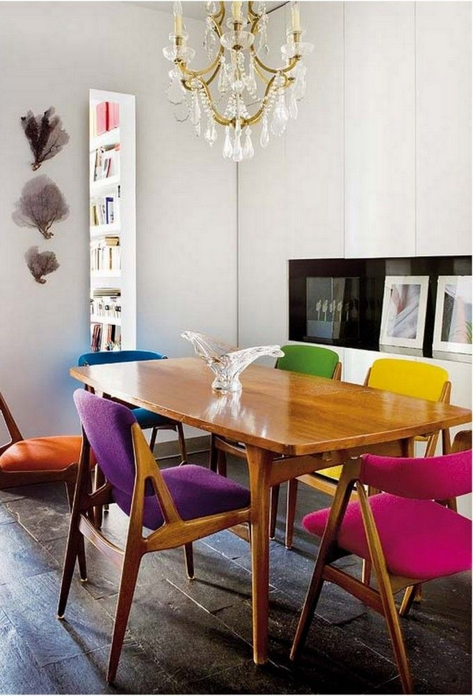 ecelectic colorful dining chairs