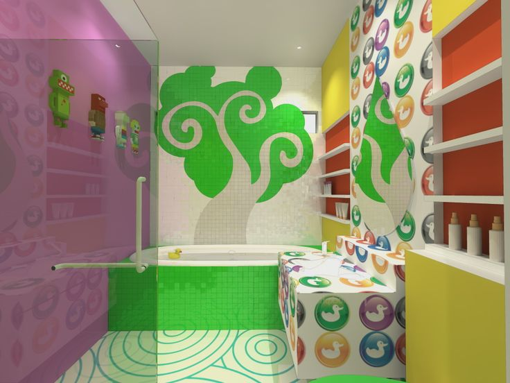 Wonderful Kids Bathroom Design With Beautiful Wall Decal And Unique  Colorful Vanyty Also Lovely White Bathtub Part 98