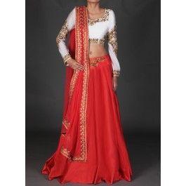 Lashkaraa White and Red Embroidered Lehenga