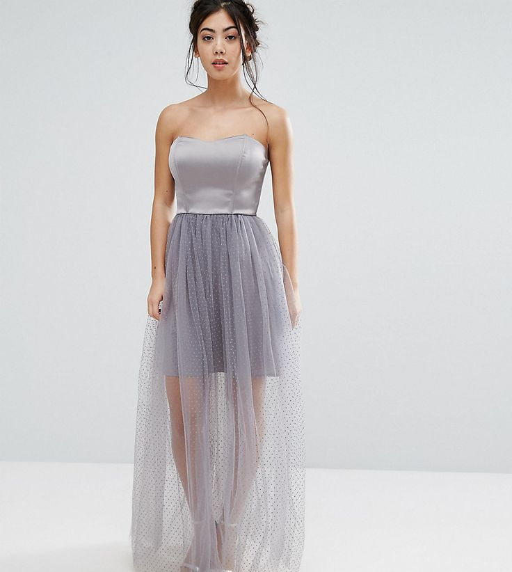 True Decadence Petite Cami Dress With Sheer Dotty Mesh Skirt - Gray