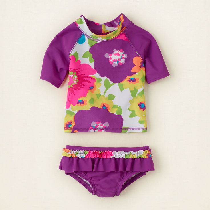 Infant girl swimsuits with rash guard-7082