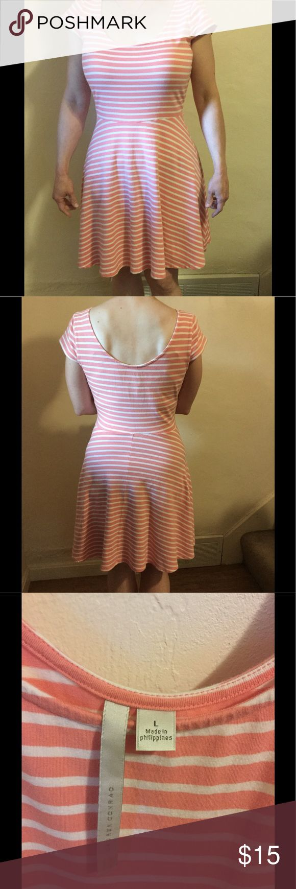 Stretch Jersey Fit & Flare Dress - Pre-Owned Very soft and comfortable stretch coral and white jersey dress, size large. Great condition! Great for summer! I hate to get rid of it, but it's too big for me now! *NOTE: since the dress is too big, I pinned it for the photos to give a better idea of fit. LC Lauren Conrad Dresses