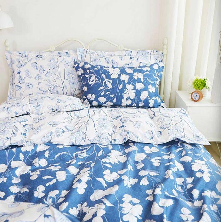 Милые красочные синий цветочный постельное белье взрослый подросток, хлопок полный королева король моды домашний текстиль плоский лист наволочки одеяла крышки
