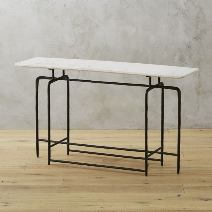 Shop Sophia Marble Console Table. Hand Hammered Iron Base Finished In Matte  Black Forms