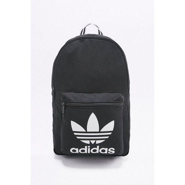 adidas Originals Black Tricot Backpack ($52) ❤ liked on Polyvore featuring bags, backpacks, black, stripe bag, knapsack bag, stripe backpack, zip top bag and round bag