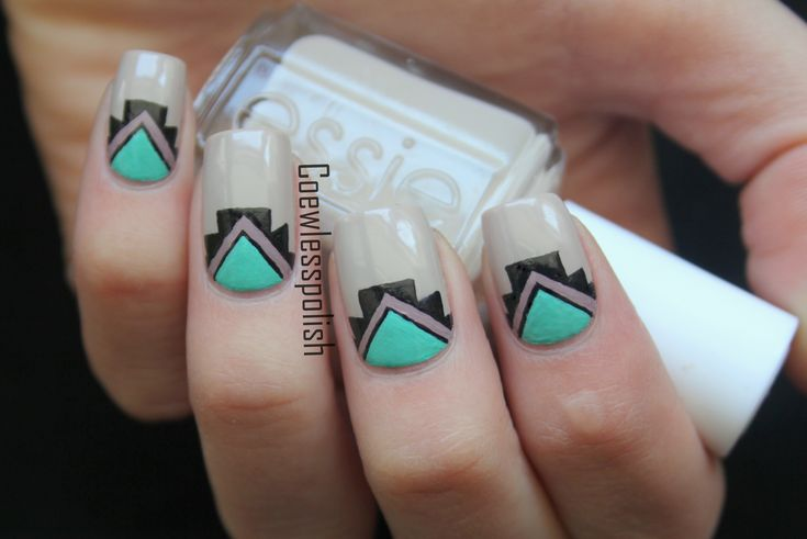 Simple Tribal nails by coewlesspolish