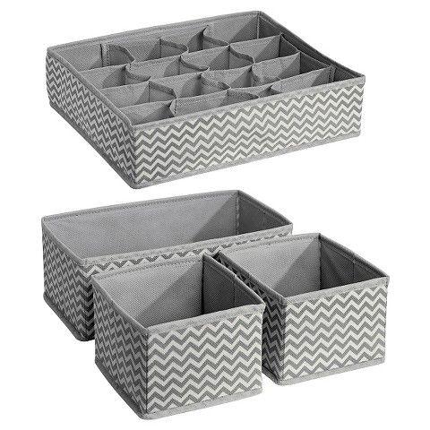 InterDesign Chevron Fabric 4-Piece Nursery Drawer or Changing Table Organizer (Multi-Pack) - Gray/Cream