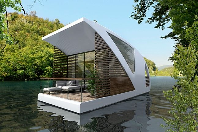 This is a modern catamaran houseboat apartment designed by Salt & Water Architecture and Yacht Design. When you go inside you'll find a living area, kitchen, bathroom, hall with storage, …
