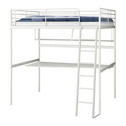 TROMSÖ loft bed frame with desk top, white Length: 198 cm Distance from floor to bed base: 164 cm Width: 141 cm