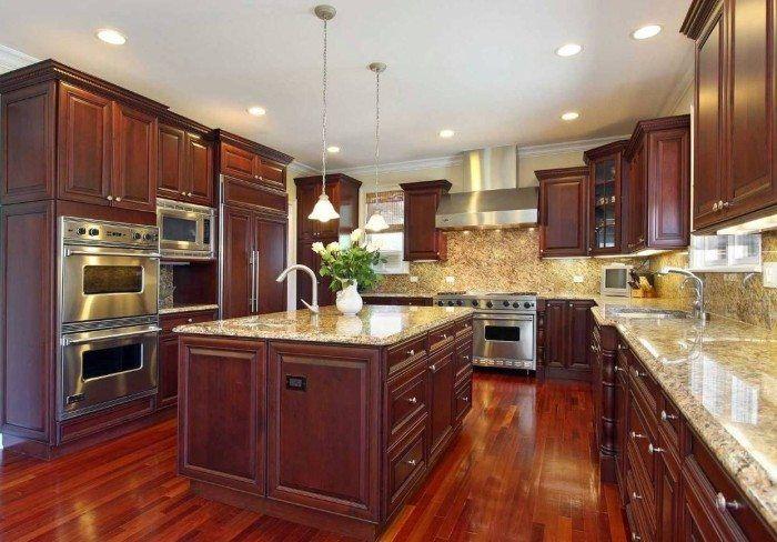 Cherry Wood Kitchen Cabinets And Island