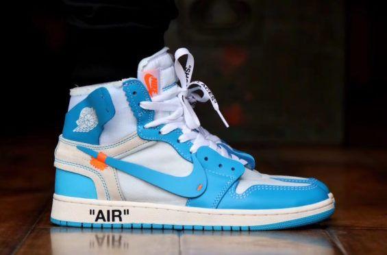 On Feet Look At The Off White X Air Jordan 1 Powder Blue Unc Kicksonfire Com Air Jordans Jordan 1 Retro High Jordans