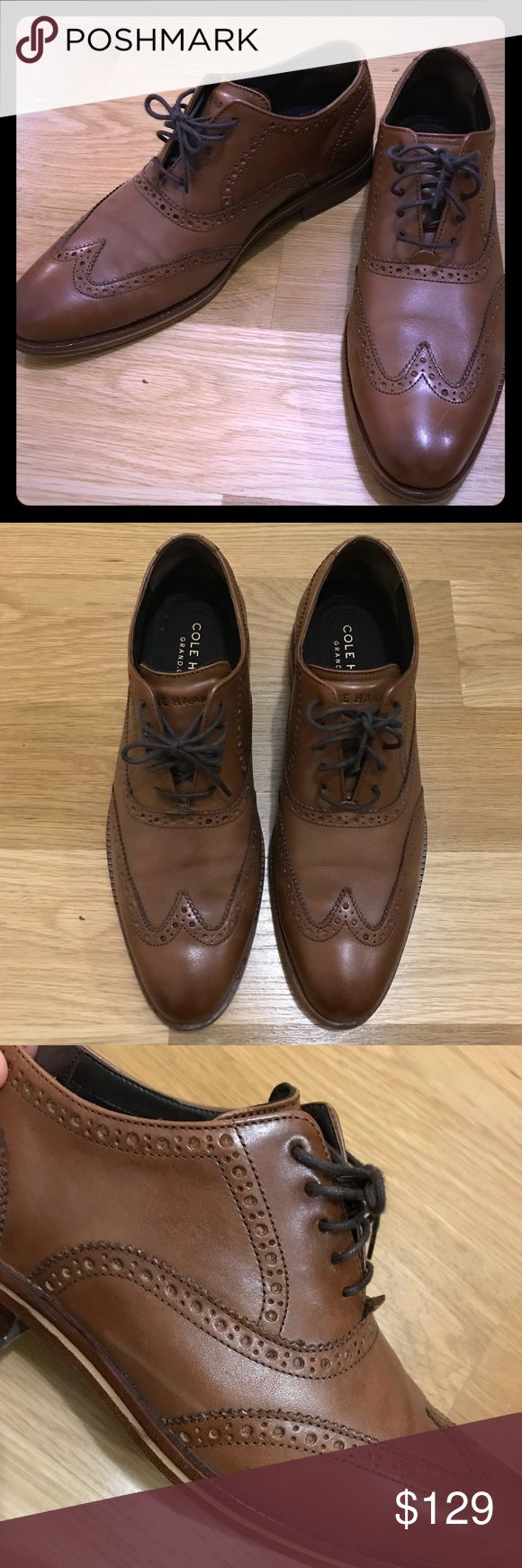 Cole Haan Oxfords size 8 Cole Haan Hamilton Grand Wing tip Oxford. Chestnut brown Size 8. Very gently worn, only worn a few times then realized the wrong size was purchased. Solid black color. Stored in cedar shoe trees, the shoe is well cared for. Cole Haan Shoes Oxfords & Derbys