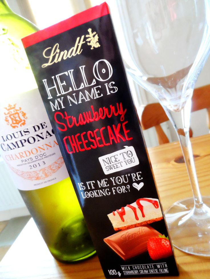 Louis De Camponac Chardonnay and Lindt Hello My Name Is Strawberry Cheesecake chocolate? A Friday treat!