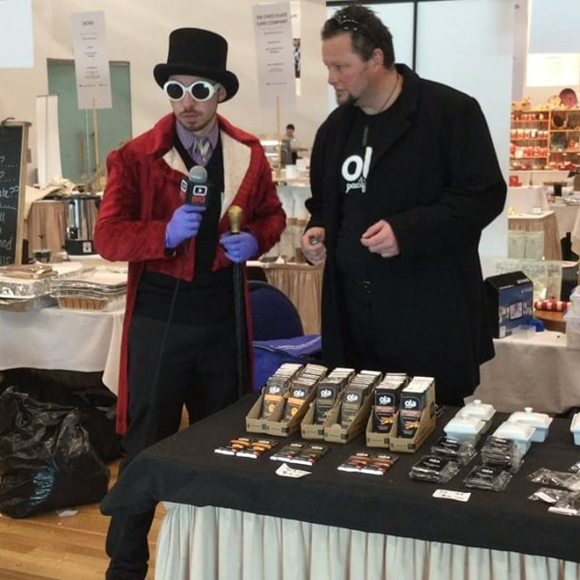 Having a chat with Willy Wonka at the New Zealand Chocolate Festival! #cacao #tastethedifference #realchocolate