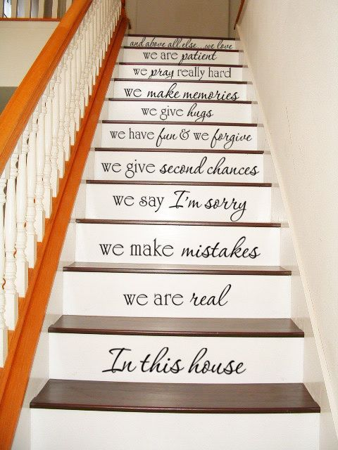 In this house - STAIR CASE Stairway - Art Wall Decals Wall Stickers Vinyl Decal Quote Now I'm wishing I had stairs so I can do this.