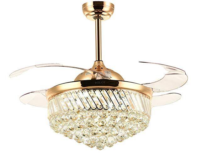 Crystal Chandelier Fan With Lights Steel Ceiling Ikea Fans Folding Wireless Remote Luxury Quiet Fa Chandelier Fan Bedroom Ceiling Light Ceiling Fan Chandelier