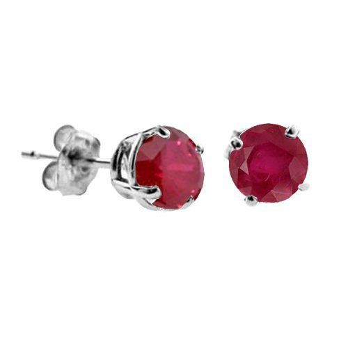 1 CT Created Ruby Stud Earrings 14k White Gold (I1-I2 Clarity) FineDiamonds9. Save 38 Off!. $49.99. 14K White Gold. Made in USA. Jewelry Gift Box Included