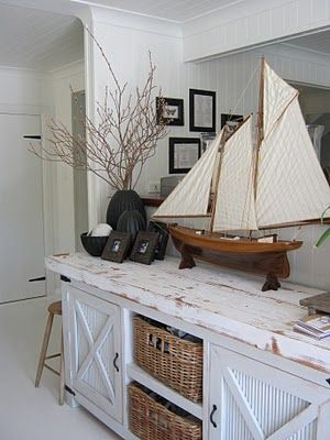 Beach Cottage ~ sideboard with yacht, decorating ideas and decor