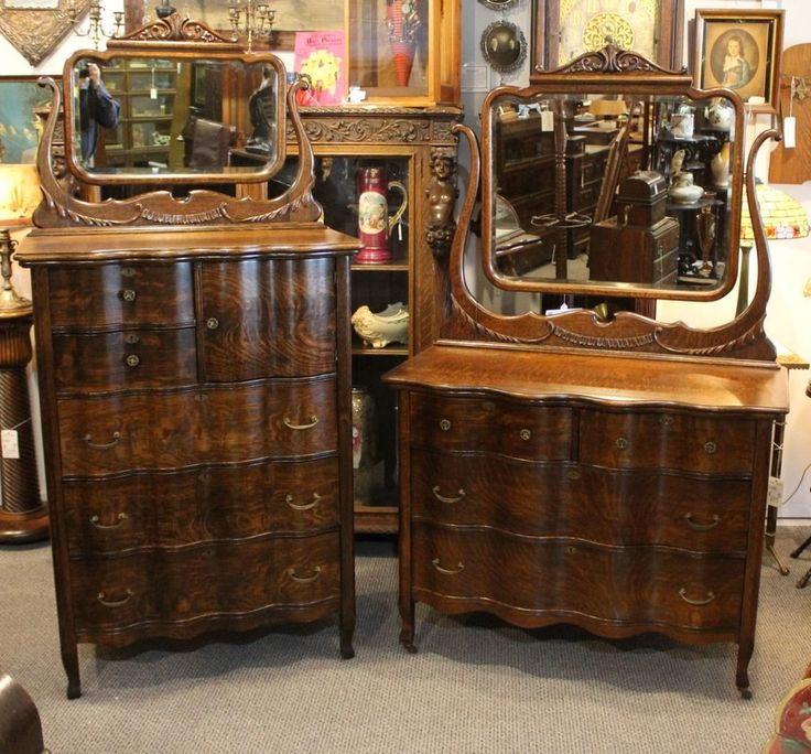 antique match pair oak highboy chest of drawers and dresser with stylish mirrors