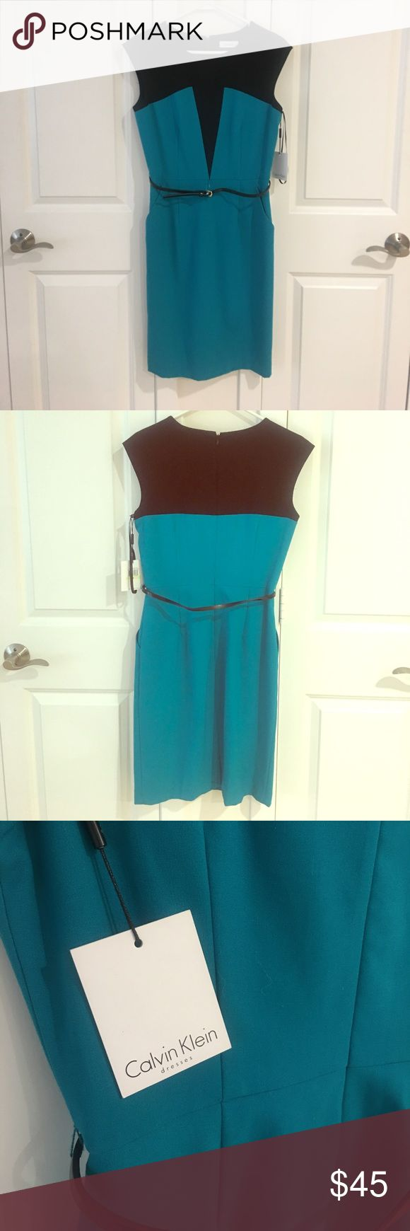 Business Professional Calvin Klein Dress Beautiful NWT, never been worn business professional dress from Calvin Klein. Hits just at the knee - I am 5'3. Come with a skinny black belt  that can be removed if desired. Gorgeous teal color! Calvin Klein Dresses