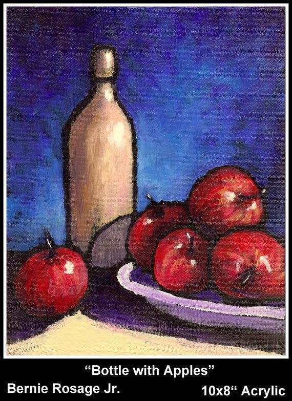Bottle with Apples Still Life Original painting by Bernie Rosage Jr., $75.00