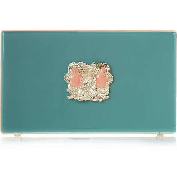 Charlotte Olympia Gemini Pandora Perspex clutch ($1,080) ❤ liked on Polyvore