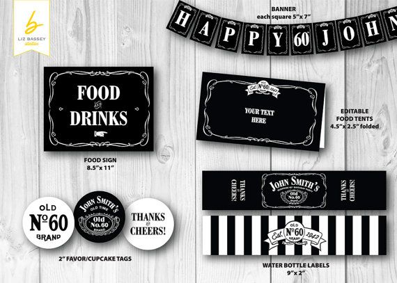 jack daniels inspired personalized printable party pack including favor cupcake tags banner. Black Bedroom Furniture Sets. Home Design Ideas