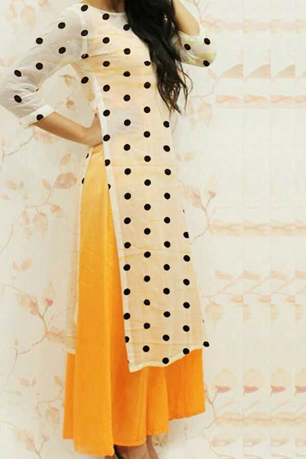 Yellow anarkali White polka dots kurta