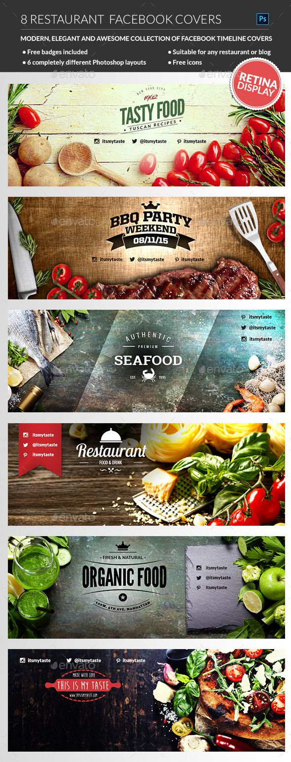Restaurant Facebook Covers PSD Templates #design Download: http://graphicriver.net/item/restaurant-facebook-covers/12246214?ref=ksioks