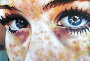 close up blue eyes
