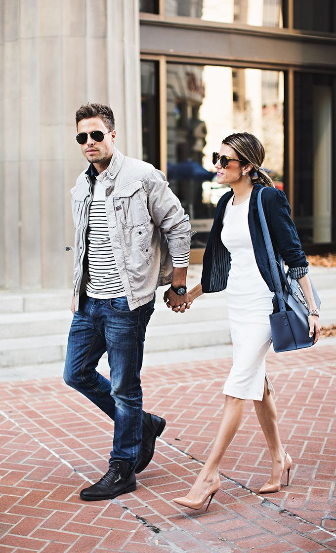 Office-wear | White midi pencil dress | Navy blazer