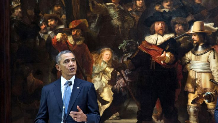 Obama urging Western nations to exclude Russia from G8 talks--in front of Rembrandt's Nightwatch at the Rijksmuseum, Amsterdam.