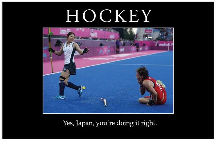 Hayashi (Japan) whacks Walsh (UK) in a 2012 London Olympics Hockey match.