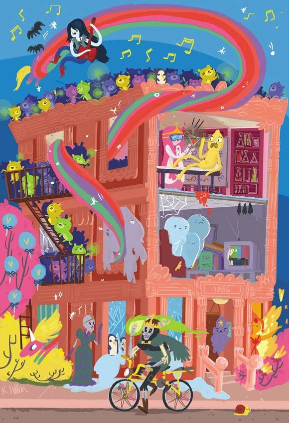 If you're an Adventure Time fan, you MUST check this out! Kassandra Heller, CCS alumna and current background painter at Cartoon Network, has illustrations featured in this Adventure Time book of framable art. Here's a sneak peek: