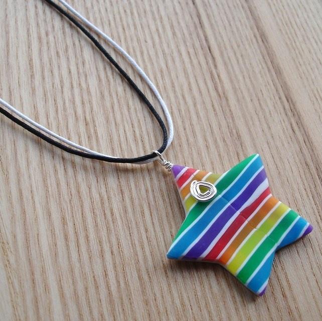 Stripey Rainbow Star Shaped FIMO Polymer Clay Pendant