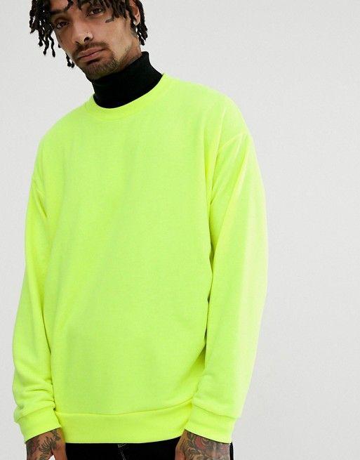 6211ed5e DESIGN oversized sweatshirt in neon yellow in 2019 | asos men ...