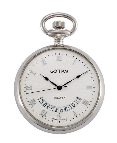 "Gotham Mid-Size Silver-Tone Swiss Quartz Pocket Watch with Desktop Stand # GWC14057S-ST Gotham. Save 56 Off!. $69.95. Beautiful mid-sized round polished silver-tone pocket watch perfect for engraving. Arrives in beautiful presentation box with Selvyt polishing cloth, lifetime limited warranty and operating instructions. Includes matching 15"" curb pocket watch chain with spring ring attachment plus solid brass desk top stand. Elegant textured white dial with hand applied silver-to..."