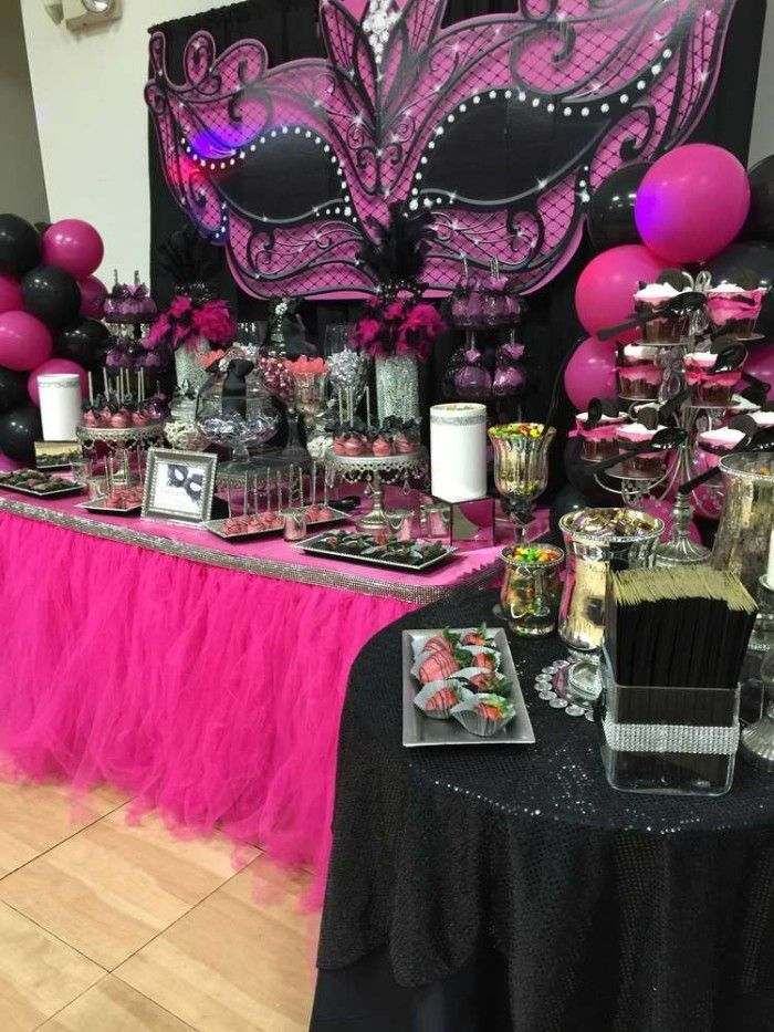 Hot Pink And Black Tables Decorations For A Masked Ball Themed Party 50th Birthday Colors Balloons Large Mask Shaped Wall Decoration