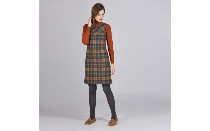 British Wool Check Shift Dress