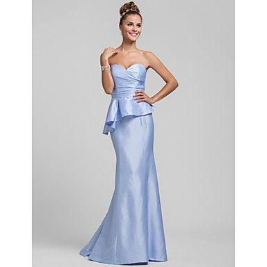 Trumpet/Mermaid Sweetheart Sweep/Brush Train Ruffles Taffeta Bridesmaid Dress – USD $ 127.39