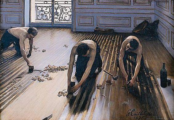 Les raboteurs de parquet (1875), de Gustave Caillebote (1848-1894). Musée d'Orsay (París).: