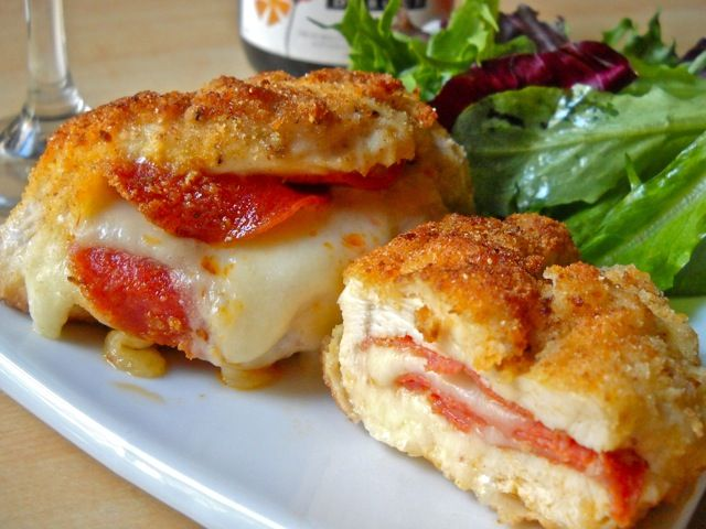 pepperoni stuffed chicken - baked it in some marinara and covered with mozzarella cheese. Served over some pasta. It was like chicken parm stuffed with pepperoni!!! Oh yes!