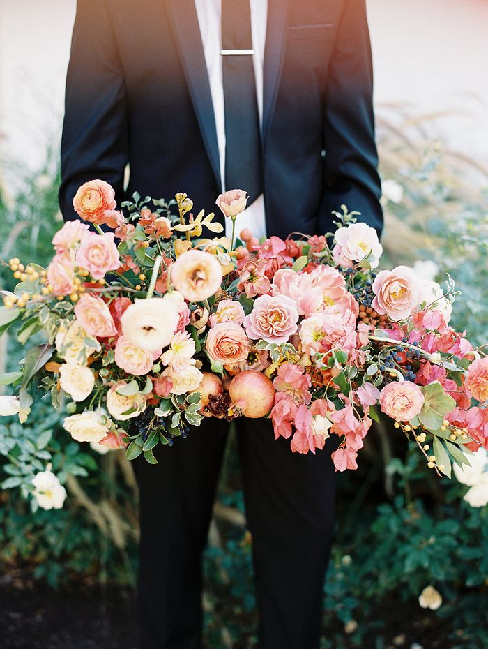 Coral and Gold Wedding Flowers