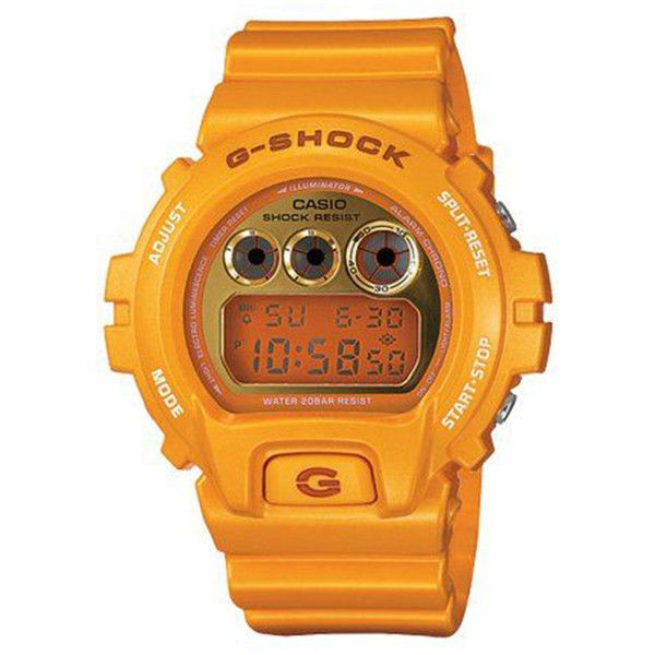 G Shock 6900 Mirror Metallic Yellow G-SHOCK ($120) ❤ liked on Polyvore featuring men's fashion, men's jewelry, men's watches, accessories, men, watches gshock, mens digital watch, mens yellow watches, mens water resistant watches and mens watches jewelry