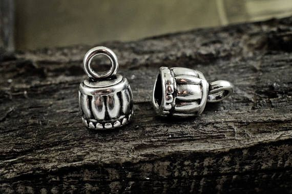 4 pcs Antique Silver Cord Ends 10x15mm End Caps for Round