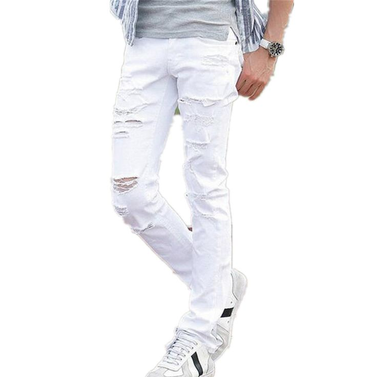 Find More Jeans Information About Hot Sell White Ripped Jeans Men With Holes Super Skinny Famous